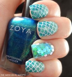 Add some inspiration from under the sea to your next manicure with mermaid nails. Take a peek at some of our favorite mermaid nail art designs. Love Nails, How To Do Nails, Fun Nails, Pretty Nails, Little Mermaid Nails, Mermaid Nail Art, Mermaid Mermaid, Mermaid Glitter, Glitter Art
