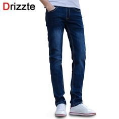 (28.00$)  Buy here - http://ailui.worlditems.win/all/product.php?id=32796021765 - Drizzte Brand Mens Jeans Stretch Blue Denim Men Slim Jeans Fashion Designer Jean Size 30 32 34 35 36 Pants Trousers
