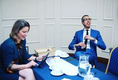 """Our star speakers Kamal Ahmed and Stephanie Flanders getting ready backstage in the Green Room for last night's debate """"Is the Party Over for Economic Growth?"""" #iq2debate  #debate #economics #live #2016 #bbc #news #westminster #greenroom #suits #politics #event #London by intelligencesquared"""