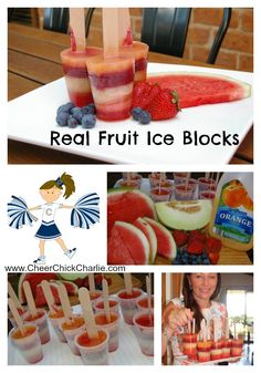 "All new Charlie's Super Snack ideas on the ""Fun Stuff"" page of the website. Check out these real fruit ice blocks! www.CheerChickCharlie.com"
