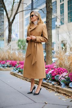camel coat with black pumps
