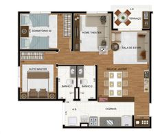 Planta 3 dormitórios ampliada
