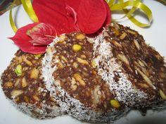 Reteta culinara Salam de biscuiţi, reţetă pentru diabetici din categoria Prajituri. Specific Romania. Cum sa faci Salam de biscuiţi, reţetă pentru diabetici