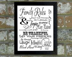 """Digital Download Typographic Print Wall Art """"Family Rules"""" Instant Download Printable Art Printable Word Art Black and White Home Decor"""