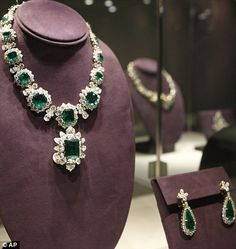 The Elizabeth Taylor Bulgari Emerald suite, given to her by Richard Burton. The Pendant alone achieved  6,587,500 US at the Christie's auction of Elizabeth Taylor's estate in 2011. The Ring sold for approximately 3 million US, the Necklace for around  6 million US and the Bracelet for just over  400,000 US.