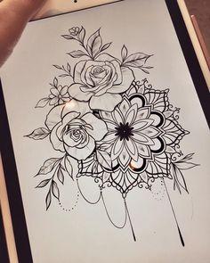 Untitled - Blumen Tattoos - Tattoo World Mandala Tattoo Design, Mandala Flower Tattoos, Henna Tattoo Designs, Flower Tattoo Designs, Tattoo Ideas, Floral Mandala Tattoo, Up Tattoos, Henna Tattoos, Tattoo Drawings