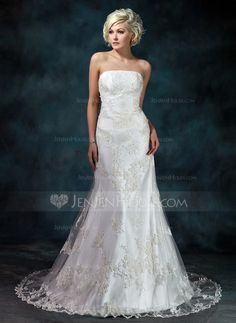 Wedding Dresses - $239.99 - Trumpet/Mermaid Strapless Court Train Satin Tulle Wedding Dress With Lace Beading (002000368) http://jenjenhouse.com/Trumpet-Mermaid-Strapless-Court-Train-Satin-Tulle-Wedding-Dress-With-Lace-Beading-002000368-g368?ver=1