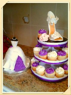 Wedding shower purple and white cake https://www.facebook.com/roartasticdesserts/