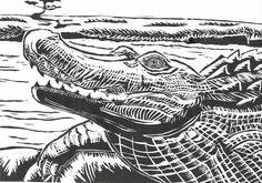 The Linocut- Crocodile by YuzukiMadoko