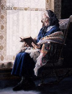 Doty, Sheri Lynn Boyer (b,1949)- Old Woman Reading Book at Window