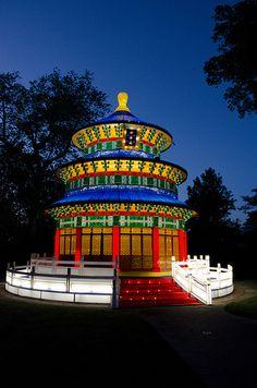 Heavenly Temple lighting test for The Missouri Botanical Garden's Lantern Festival.