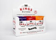 Packaging designed by Robot Food for snack and supplement range Kings Biltong Food Packaging, Brand Packaging, Packaging Ideas, Organic Packaging, Pretty Packaging, Product Packaging, My Protein, Protein Bars, Rib Sauce