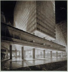Lever House - SOM - Hugh Ferriss' architectural delineations, 1915-1961