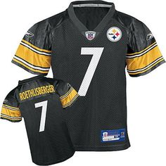 Reebok Pittsburgh Steelers Ben Roethlisberger Boys Replica Jersey  https://allstarsportsfan.com/product/reebok-pittsburgh-steelers-ben-roethlisberger-boys-replica-jersey/  100% nylon mesh Short sleeve jersey Ribbed v-neck collar with NFL® Equipment Patch at the point on the frontPlayer and team graphics screen-printed on the chest, back, sleeves and shoulders (where applicable)