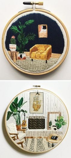 Hand embroidery hoop art by Desert Eclipse Studio