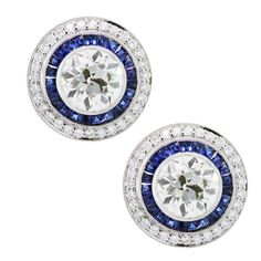 Platinum, Diamond and Sapphire  Earrings   From a unique collection of vintage stud earrings at http://www.1stdibs.com/jewelry/earrings/stud-earrings/