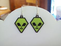 Beaded Green Alien Earring Paranormal out of by BeadedCreationsetc