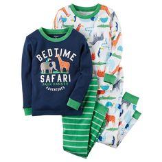 Toddler Boy Carter's 4-pc. Tops & Pants Pajama Set, Size: 2T, Safari