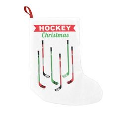 Hockey Sticks Christmas Stocking. Hang it up! Great hockey Christmas decor.