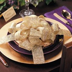 Dressed-Up Dishes - Everything looks prettier tied up with a bow, even your holiday table settings/this look could be used in so many ways Christmas Table Settings, Christmas Tablescapes, Holiday Tables, Christmas Decorations, Table Decorations, All Things Christmas, Christmas Holidays, Christmas Ideas, Holiday Ideas