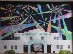 July 4th at the Apache Motel (18 X 24).  1997 Watercolor by Colin Claxon