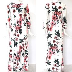 Excited to share the latest addition to my #etsy shop: Women maxi dress, floral maxi dress, vintage maxi dress, long sleeve maxi dress, black, blue, green, pink, white, S, M, L, XL, XXL, XXXL