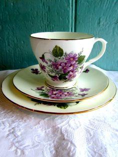 1950's Tea cup Vintage Teaset  Violet flower Tea cup Trio. English Bone China Duchess. Floral English Tea. £16.00, via Etsy.