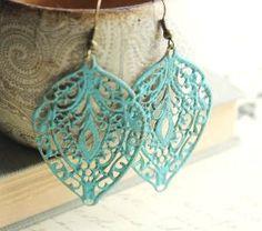 Turqoise lace affexr ear rings