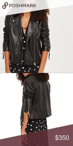 Topshop Rosemary Leather Biker Jacket Black leather jacket from Topshop. Size 8 fits like a medium/large. Excellent condition. More pictures to come! 📷 Topshop Jackets & Coats