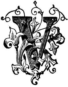 Presentation Alphabet Set: Drop Caps Letter V - Style 108 Fancy Letters, Initial Letters, Letter Art, Letters And Numbers, Alphabet A, Calligraphy Letters, Typography Letters, Letra Drop Cap, Letras Tattoo
