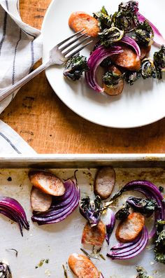 Chicken Sausage, Kalette (cross between kale and Brussels sprouts), and Red Onion Sheet Pan Supper {paleo}