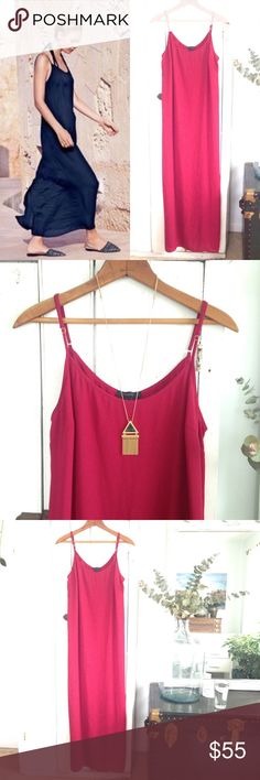 🆕 J. Crew crepe maxi dress Say hello to summer with this stunning ruby maxi dress from J. Crew Retail! Features spaghetti straps, a flowy style and a back slit. Size large, in EUC! Style with a jean jacket and sandals or use as a beach cover-up! J. Crew Dresses