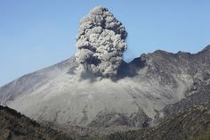 February 24, 2013 - Ash (Grey) cloud rising, following explosive eruption of Sakurajima volcano, Japan Poster Print (34 x 22)