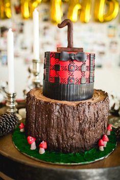 Lumberjack cake from a Lumberjack Birthday Party on Kara's Party Ideas | KarasPartyIdeas.com (23)