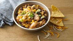 Slow Cooker cheesy Chicken Enchilada Chili: It's a little bit enchilada, a little bit chili and a whole lot of yummy!