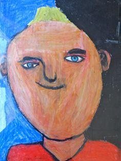 Zelfportret met waskrijt, weergeven van gevoel