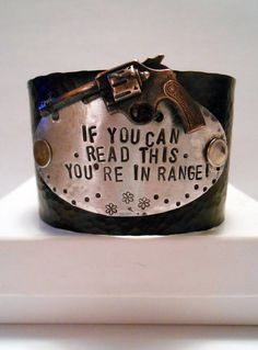 If you can read this, you're in range! SOLID BLACK Metal, Cowgirl, Country Western Girl, Redneck Girl, Rustic, Country, Cuff Bracelet Art on Etsy, $28.00