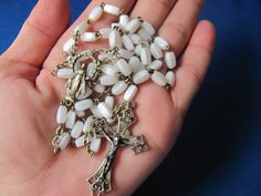 Vintage 1930s rosary white glass beads and by BonniesGreatFinds