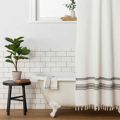 Embroidered Shower Curtain Railroad Gray - Hearth & Hand™ With Magnolia : Target Cute Shower Curtains, Shower Curtain Rods, Shower Rod, Bathroom Shower Curtains, Shower Curtain White, Colorful Shower Curtain, White Bathroom Decor, Boho Bathroom, Bathroom Ideas