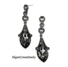 Black Teardrop Long Formal Crystal Evening Prom Elegant Earrings