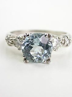 Vintage Platinum Aquamarine Engagement Ring
