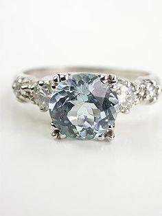 Vintage Platinum Aquamarine Engagement Ring