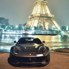 Ferrari F12 with a beautiful Eiffel Tower backdrop