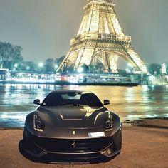 Ferrari F12 with a beautiful Eiffel Tower backdrop