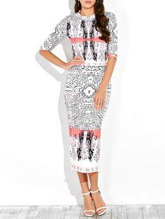 Half Sleeve Printed Top and Midi Pencil Skirt