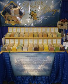 Handcrafted Soap Display- read the sign on the table. TRUTH!