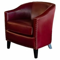 """Featuring bonded leather upholstery and nailhead trim, this curved wood-framed accent chair is a handsome addition to your study or living room seating group.  Product: ChairConstruction Material: Solid wood and bonded leatherColor: RedFeatures: Nailhead trimDimensions: 30"""" H x 31"""" W x 28.75"""" D"""