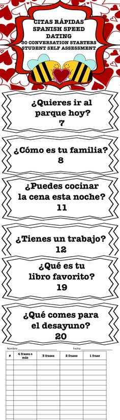 Spanish Speed Dating-100% participation with student self-assessment. Your students will enjoy this activity!