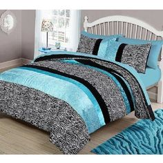 Comforter Bedding Reversible Set Teal Blue Zebra Black 4 Piece Girls Teens Room #YourZone