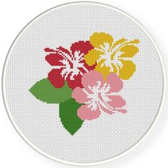 Cross Stitch Charts Hibiscus Cross Stitch Illustration - A Free Pattern Daily! Simple Cross Stitch, Cross Stitch Flowers, Cross Stitch Charts, Cross Stitching, Cross Stitch Embroidery, Embroidery Patterns, Modern Cross Stitch Patterns, Cross Stitch Designs, Hibiscus